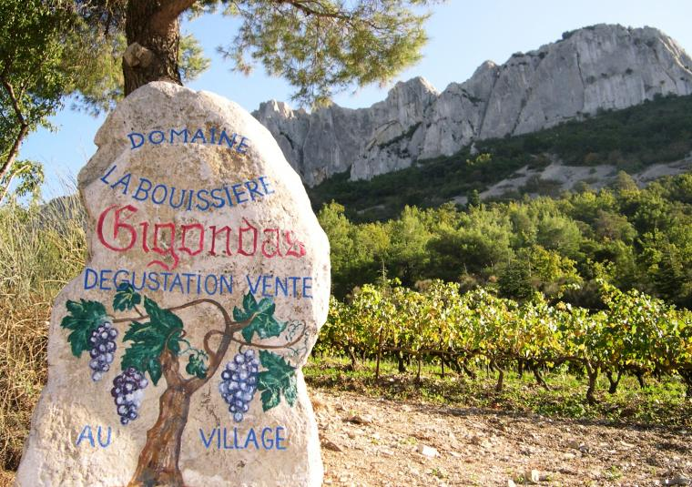 Wine gigondas sign on rock