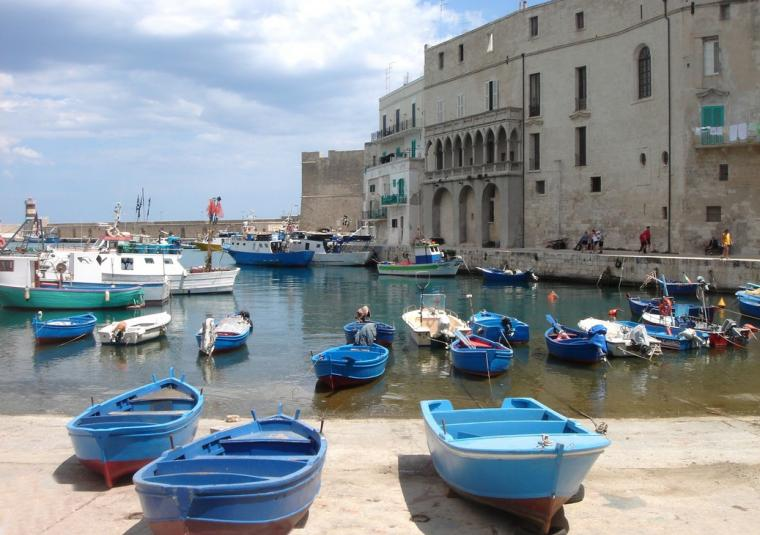Monopoli harbor  blue boats