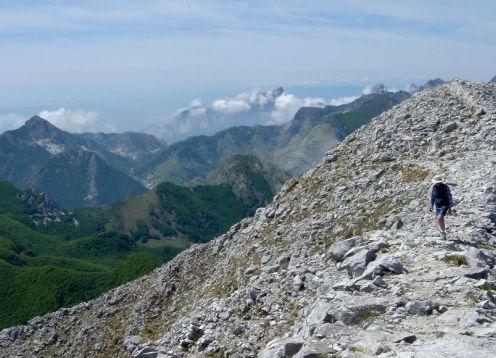 Hiking along ridge