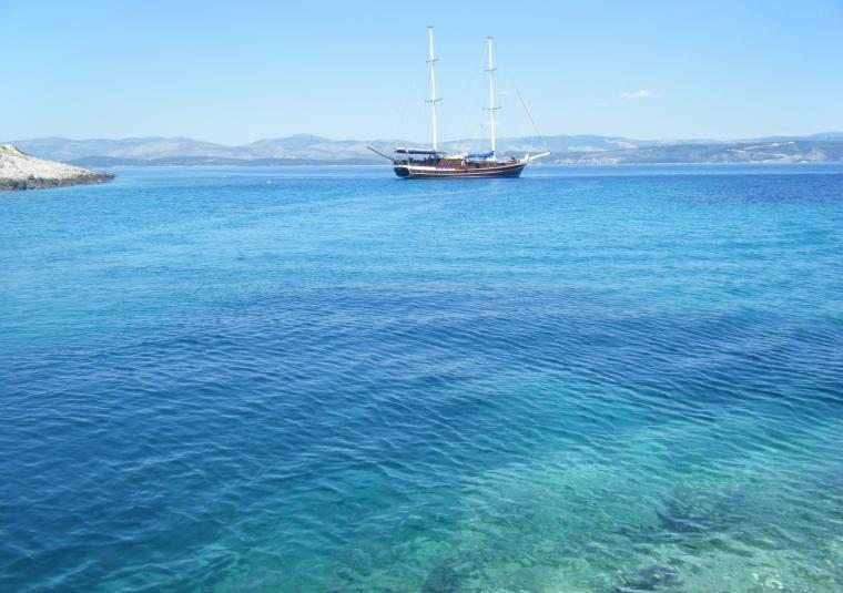 Boat in fantastic blue